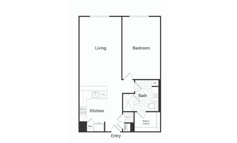 A7.2 1 Bed 1 Bath Floorplan