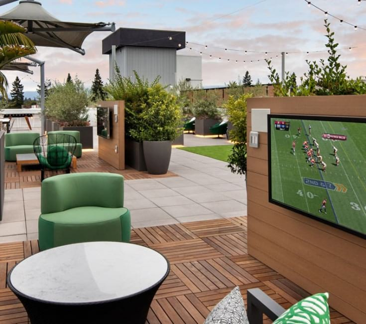 outdoor pavilion with tv and lounge seating