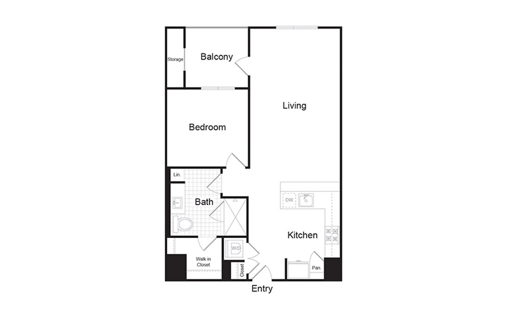 A5 1 Bed 1 Bath Floorplan
