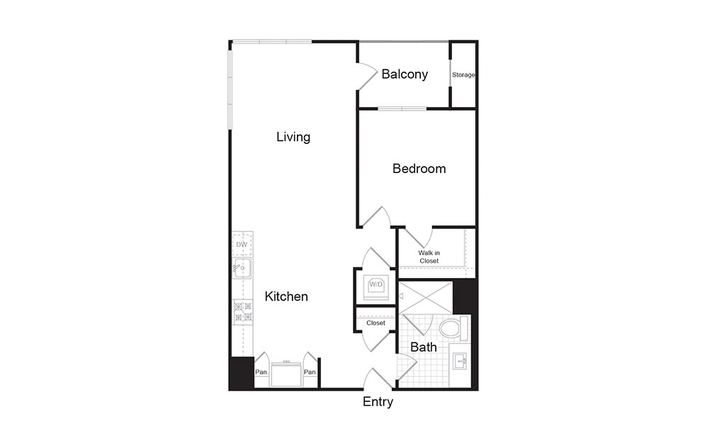 A2 1 Bed 1 Bath Floorplan