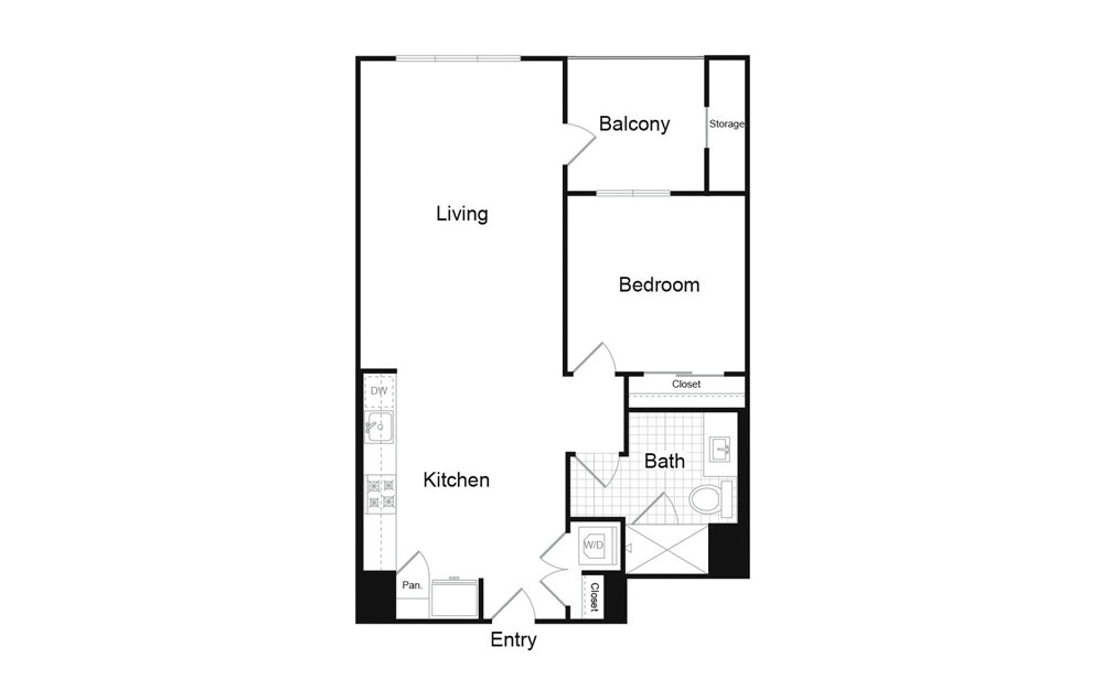 A3 1 Bed 1 Bath Floorplan