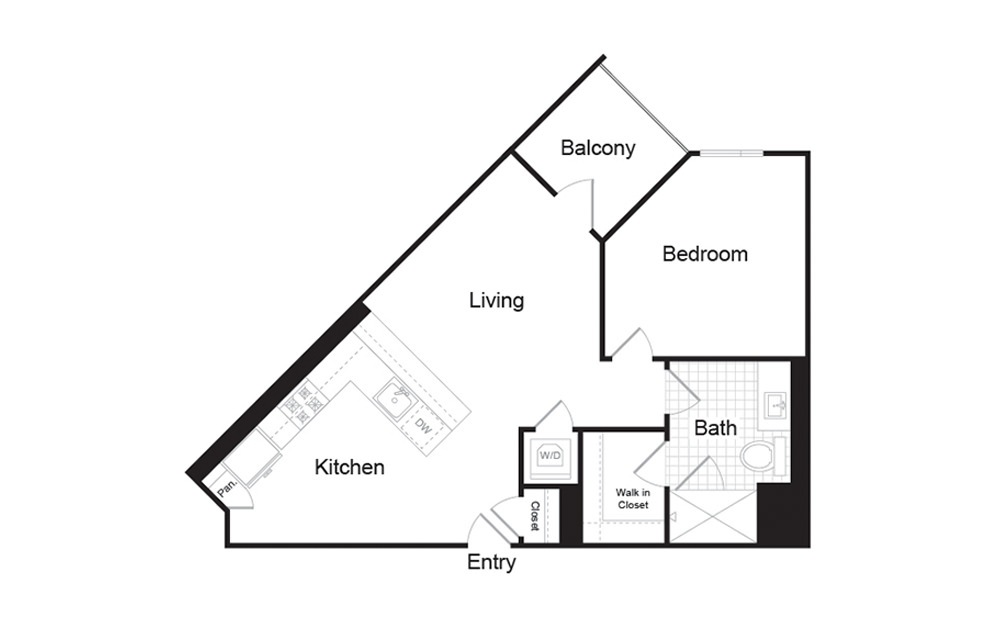 A1 1 Bed 1 Bath Floorplan