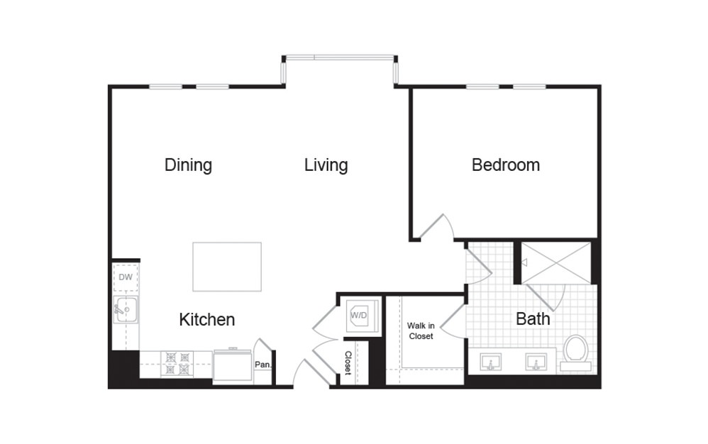 A6 1 Bed 1 Bath Floorplan