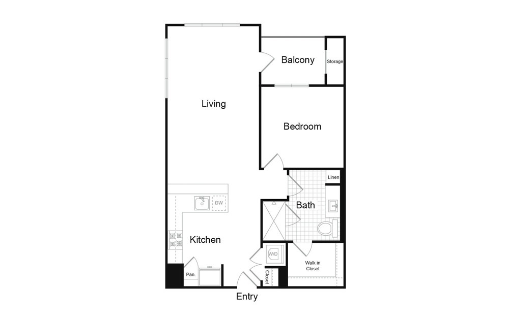 A7.1 1 Bed 1 Bath Floorplan