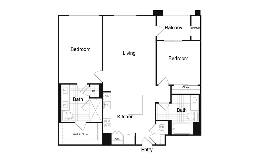 B3 2 Bed 2 Bath Floorplan