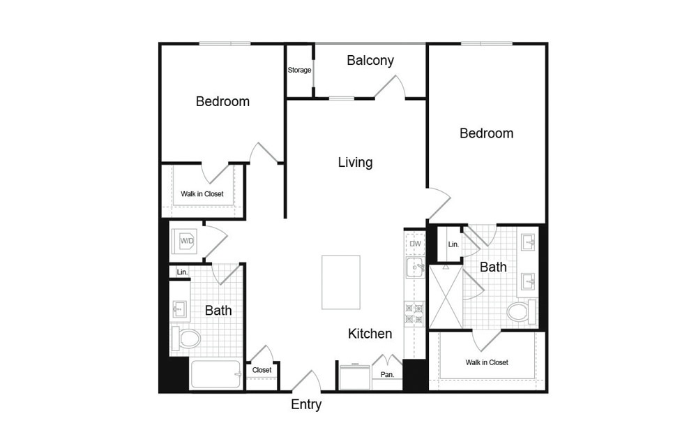 B6 2 Bed 2 Bath Floorplan