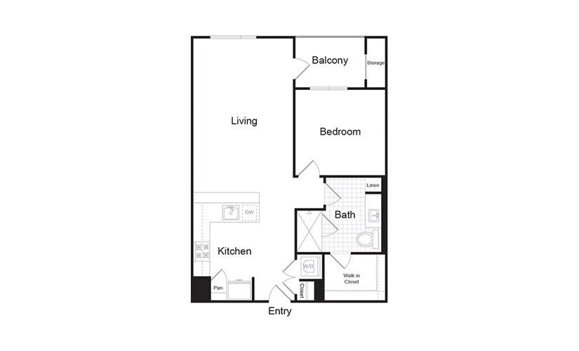 A7.1 1 Bed 1 Bath Floorplan