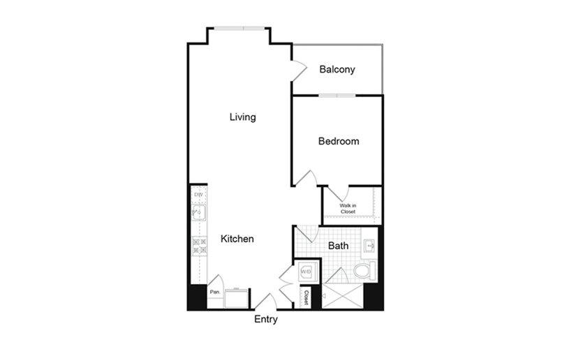 A6.1 1 Bed 1 Bath Floorplan