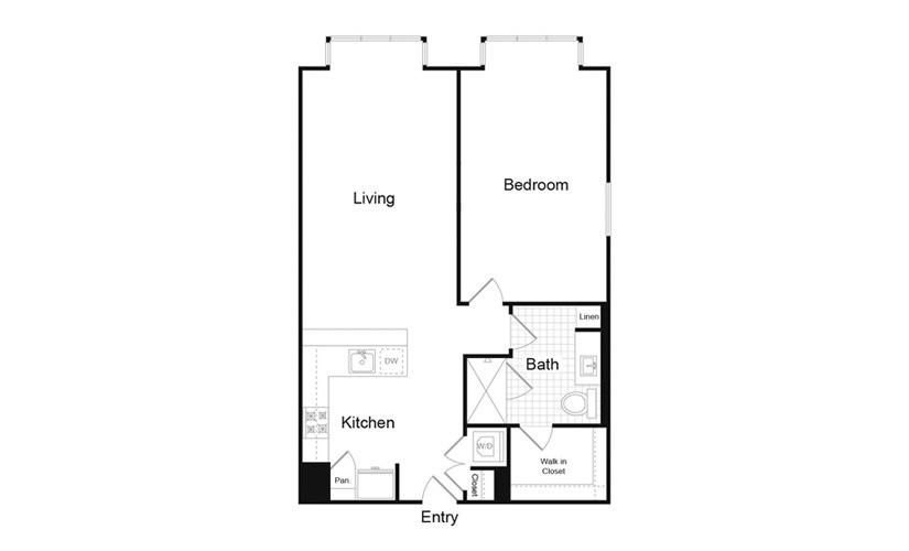 A7.3 1 Bed 1 Bath Floorplan