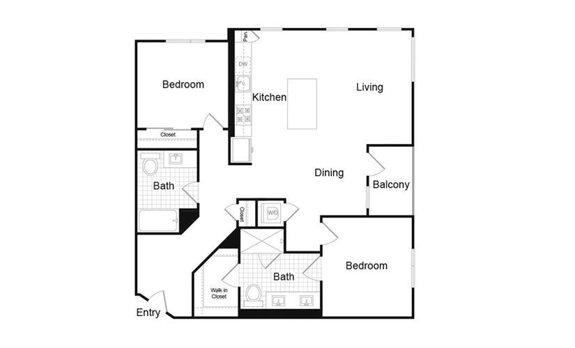 B1.2 2 Bed 2 Bath Floorplan
