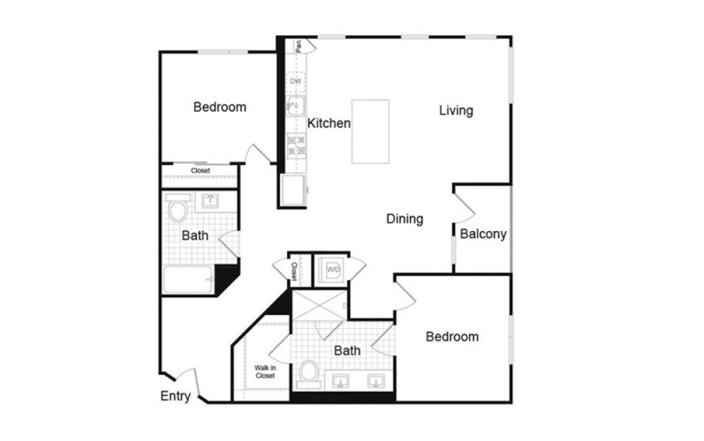 B1.2 2 Bed 2 Bath Floorplan