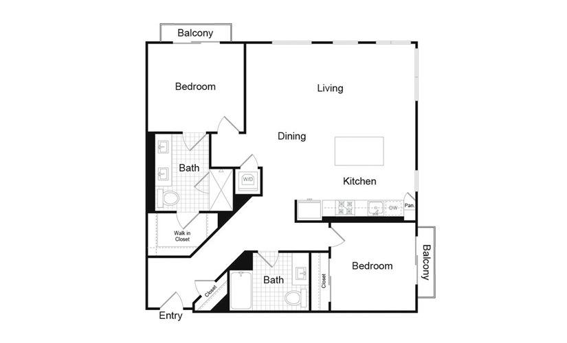 B1.3 2 Bed 2 Bath Floorplan