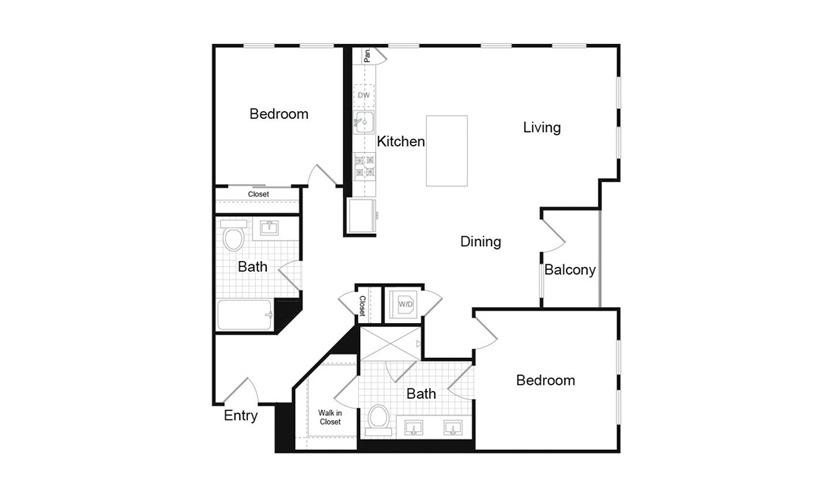 B1.4 2 Bed 2 Bath Floorplan
