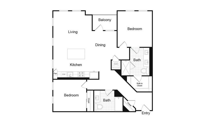 B1.5 2 Bed 2 Bath Floorplan