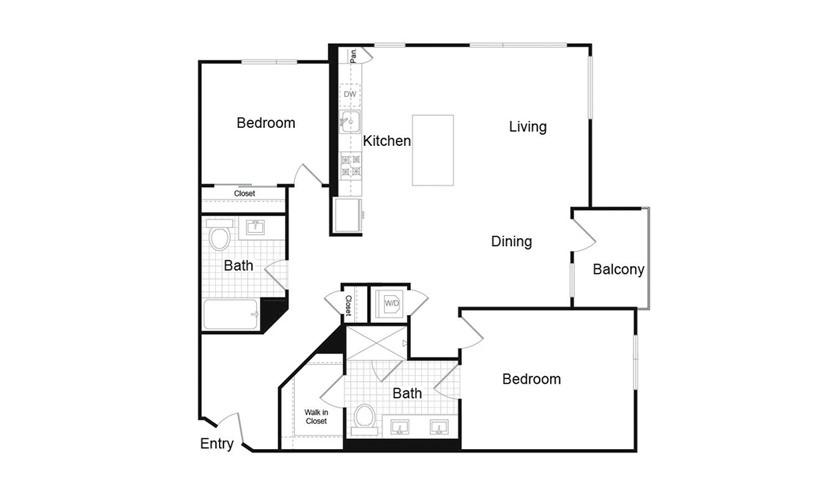 B1.6 2 Bed 2 Bath Floorplan
