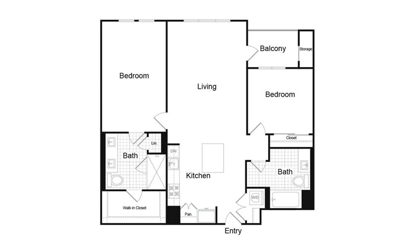 B3.1 2 Bed 2 Bath Floorplan