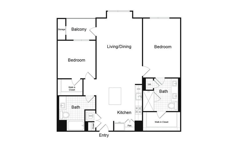 B5.3 2 Bed 2 Bath Floorplan