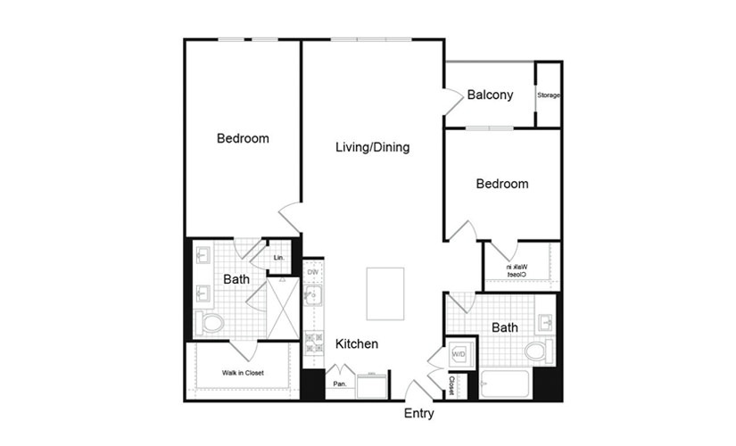 B5.5 2 Bed 2 Bath Floorplan