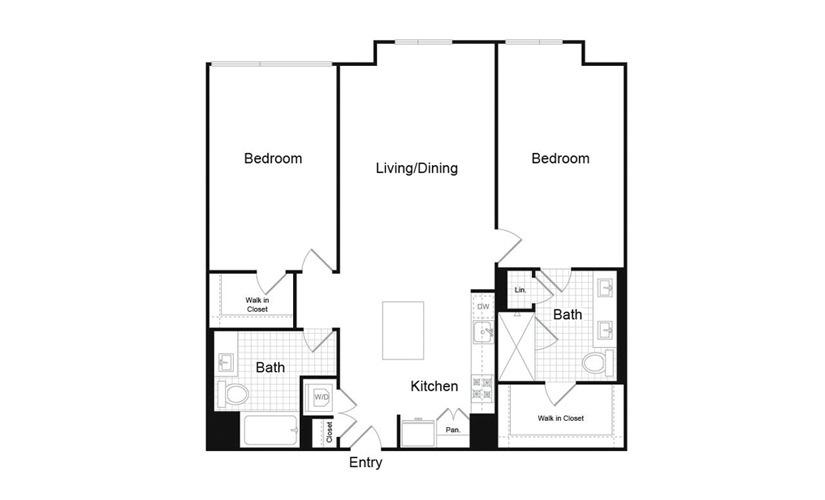 B5.6 2 Bed 2 Bath Floorplan