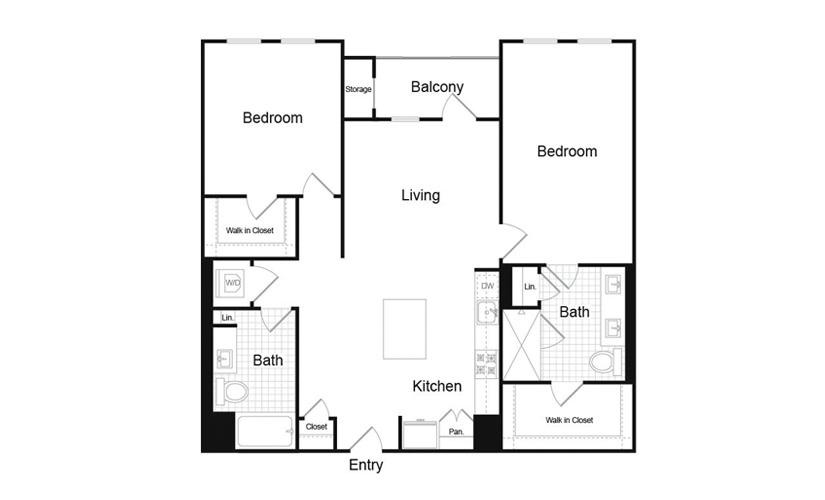 B6.1 2 Bed 2 Bath Floorplan